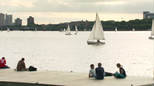 ws people relaxing on dock and looking at sailboats on charles river / boston, massachusetts, usa - チャールズ川点の映像素材/bロール