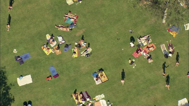 ws ha people relaxing on lawn by swimming pool, wurzburg, bavaria, germany - wurzburg stock videos and b-roll footage