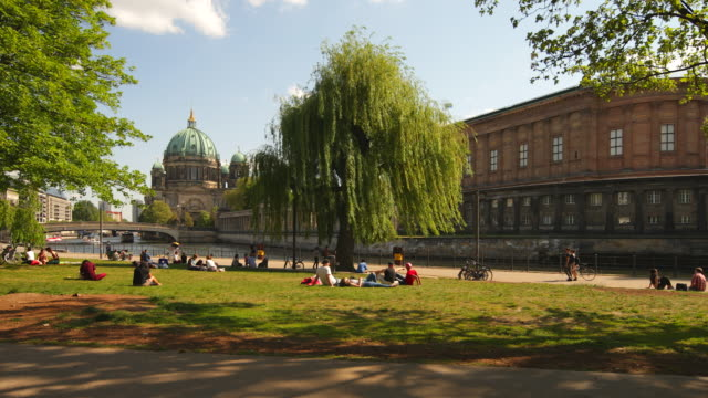 people relaxing on park in berlin in front of berlin cathedral - park stock-videos und b-roll-filmmaterial