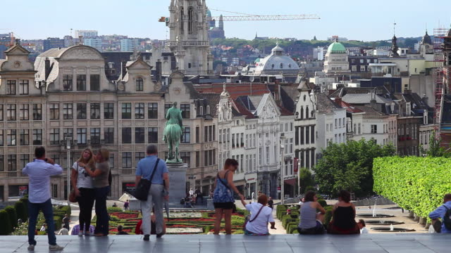 People Relaxing on the Mont des Arts (Mount of the Arts) in Front of the Old Town of Brussels