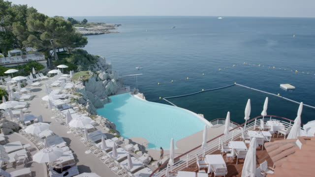 WS HA People resting in sun loungers at Hotel du Cap / Antibes, France