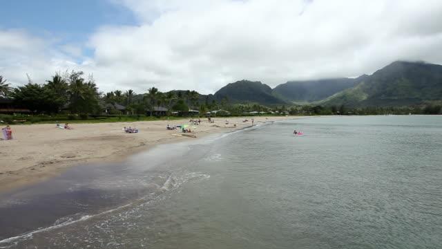 ws people resting on hanalei beach / kauai, hawaii, united states - 史跡めぐり点の映像素材/bロール