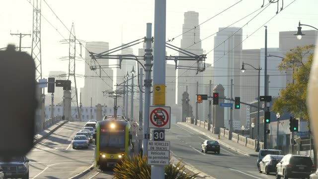 People ride a Metro train on March 28 2018 in Los Angeles California Between 2016 and 2017 public transit ridership fell in the country's seven...
