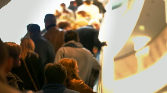 LA People Riding Escalator in Modern Shopping Mall