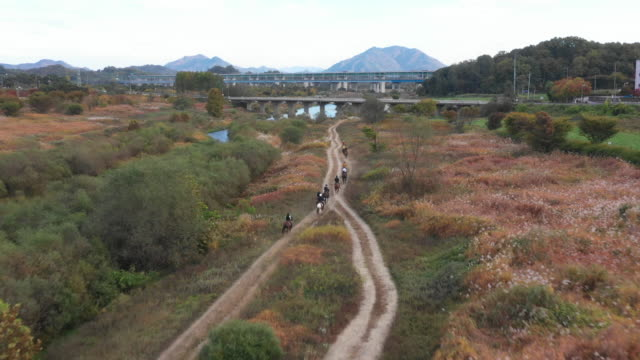 stockvideo's en b-roll-footage met people riding horses at namhan river / chungju-si, chungcheongbuk-do, south korea - recreatief paardrijden
