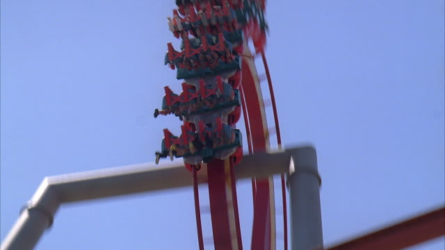 la ws td people riding silver bullet roller coaster at knott's berry farm / buena park, california, usa - unknown gender stock videos & royalty-free footage