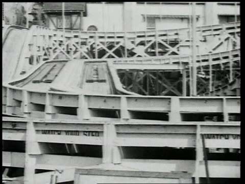 1918 ws people riding spinning cars roller coaster / brooklyn, new york, united states - 1918 stock videos & royalty-free footage