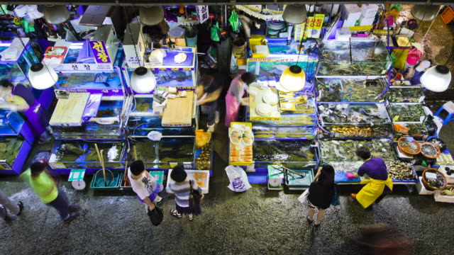 vídeos de stock, filmes e b-roll de ms t/l ds people roaming and shopping in noryangjin fish market / seoul, south korea - gastando dinheiro