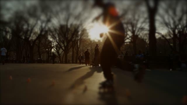 People roller skating and relaxing in Central Park Tilt shift lens