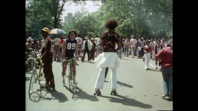 people rollerskating in central park, new york; 1980 - moving after stock videos & royalty-free footage