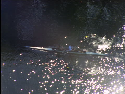 aerial 2 people rowing in crew boat on thames river / oxford, oxfordshire, england - oxford england stock videos & royalty-free footage