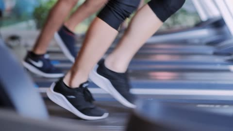 people running on a treadmill concept for exercising, fitness and healthy lifestyle. - treadmill stock videos & royalty-free footage