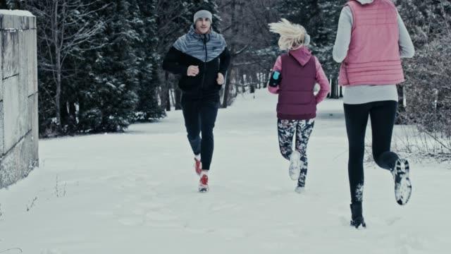 People running on snow