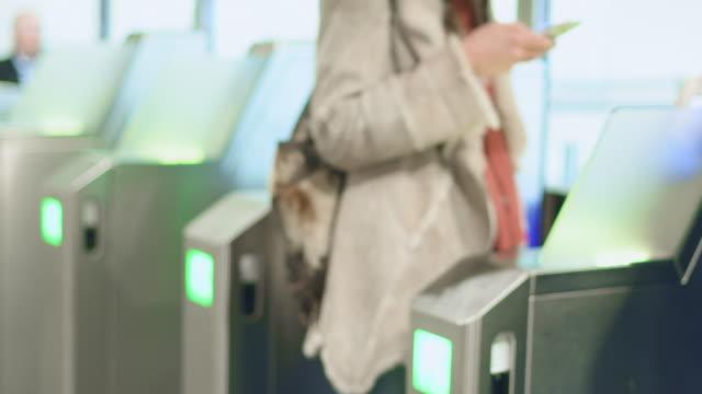 people scanning tickets - biglietto aereo video stock e b–roll