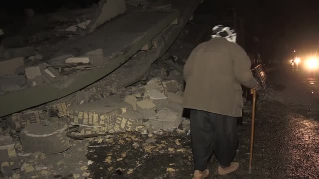 people search for survivors in the rubble of buildings following a 7.3 magnitude earthquake in sulaimaniyah, iraq on november 12, 2017. an earthquake... - us state border stock videos & royalty-free footage