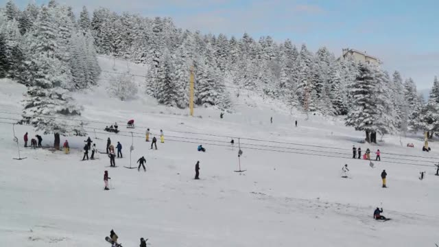 people seen at uluday ski center on january 02 2016 in bursa turkey snow thickness in uludag one of turkey's most favorite skiing resorts has reached... - uludag stock videos and b-roll footage