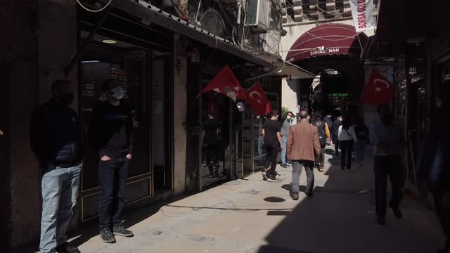 people shop at istanbul's famous grand bazaar on april 22 in istanbul, turkey. despite record numbers of infections, turkey continues to prepare for... - istanbul stock videos & royalty-free footage