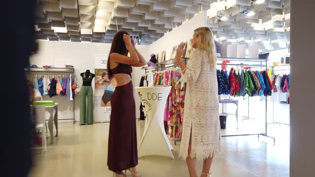 people shop, walk and interact at the maredamare 2021 swimwear international fashion shows at fortezza da basso on july 25, 2021 in florence, italy. - florence italy stock videos & royalty-free footage