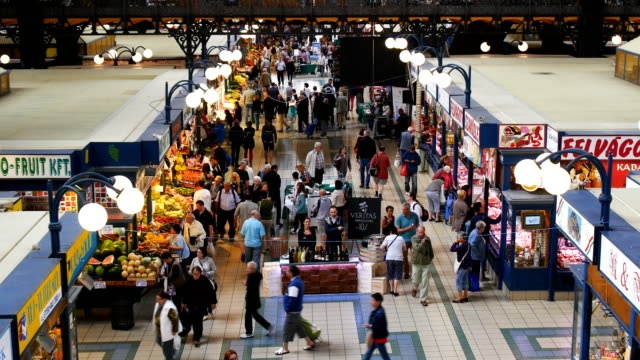 people shopping and eating in great market hall  - hungarian culture stock videos & royalty-free footage