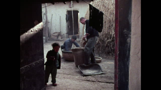 people sifting rice in a simple courtyard in china; 1973 - bamboo plant stock videos & royalty-free footage