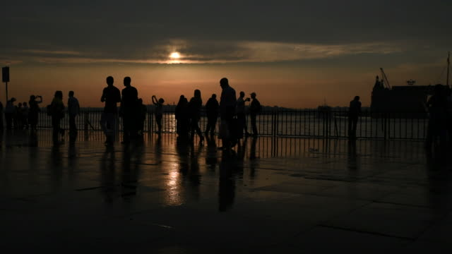 People Silhouettes at Sunset in Istanbul