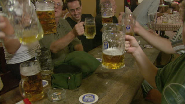 ms tu td people singing and toasting with beer at table in hofbrauhaus, munich, bavaria, germany - beer stein stock videos and b-roll footage
