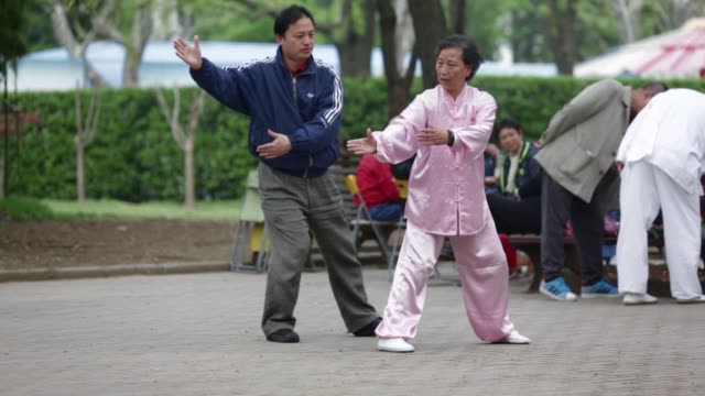 people sit and drink tea at an outdoor rest area in fuxin park in shanghai china on sunday april 10 elderly men chat in fuxin park in shanghai an... - カンフー点の映像素材/bロール