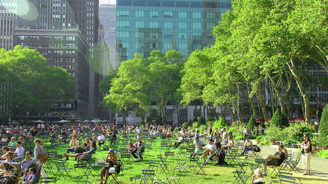 T/L People sitting and walking in the park / New York City, New York, United States