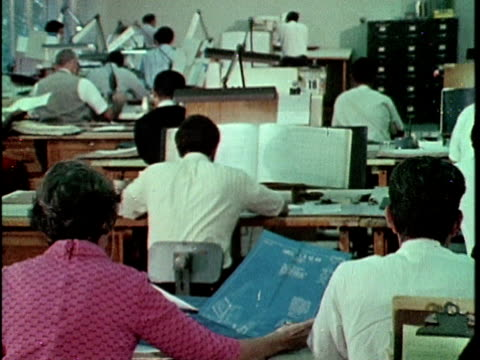 1970 montage people sitting at desks studying maps in map division of property tax assessors, los angeles, california, usa, audio - cartography stock videos & royalty-free footage