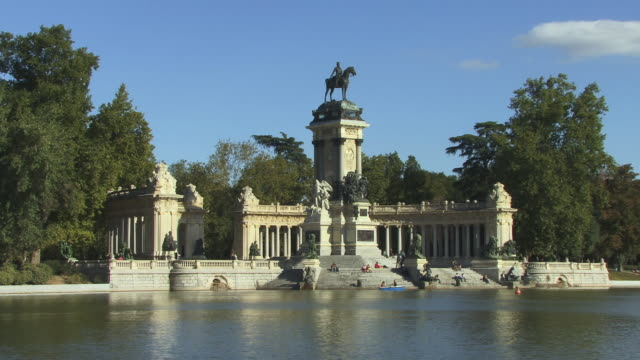 WS People sitting on steps of Alfonso XII monument at Retiro Park/ Madrid, Spain