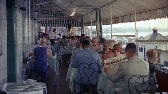 ms people sitting on table at cafì© / new york, new york, united states - 1950 1959 stock-videos und b-roll-filmmaterial