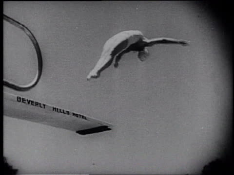 1945 montage people skiing and playing watersports / united states - frank capra video stock e b–roll