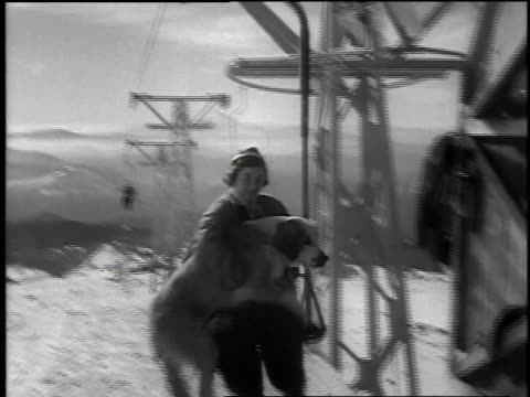 1952 montage people skiing on mount hood / oregon, united states - sci e snowboard video stock e b–roll