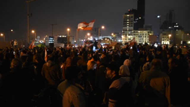 people stage a demonstration against the new government of hassan diab' at in beirut, lebanon on january 28, 2020. protesters blocked the path... - lebanon country stock videos & royalty-free footage