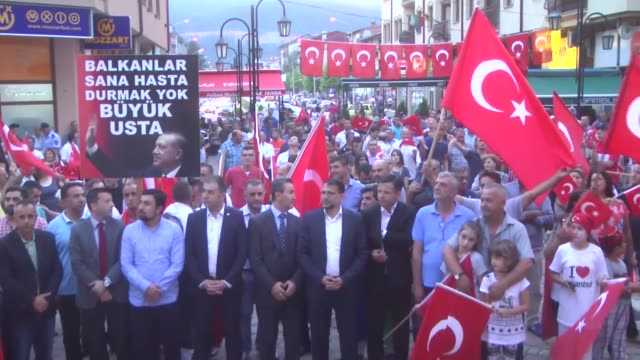 people stage a demonstration in support of turkey and turkish president recep tayyip erdogan in kicevo macedonia on july 27 2016 as they protest the... - law stock videos & royalty-free footage