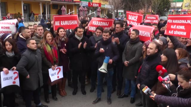 people stage a protest demanding release of former kosovo prime minister ramush haradinaj who was detained by french authorities in tirana albania on... - tirana stock videos and b-roll footage