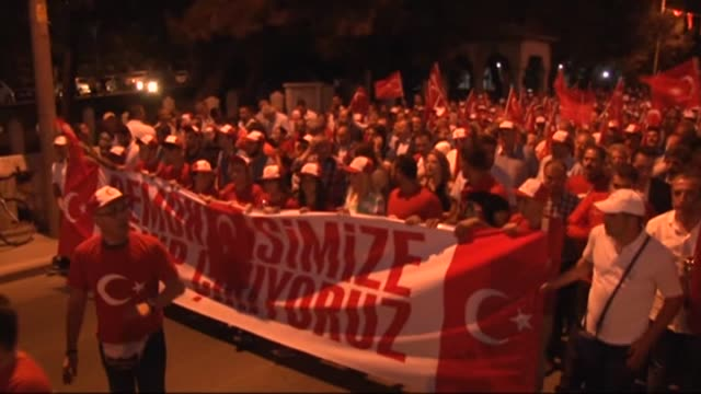 people stage a rally to protest against parallel state/gulenist terrorist organization's failed military coup attempt in edirne, turkey on july 20,... - july stock videos & royalty-free footage