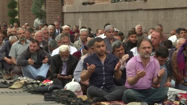people stage an antius and israel demonstration following friday prayer at haci bayram mosque in ankara turkey on may 18 2018 on monday at least 62... - 2018 gaza border protests stock videos & royalty-free footage