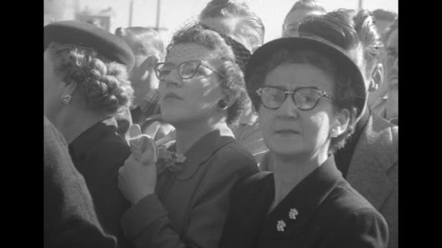 stockvideo's en b-roll-footage met vs people stand around rear platform of train with pres harry truman speaking women greet harry and margaret / crowd of hundreds women in glasses... - margaret truman