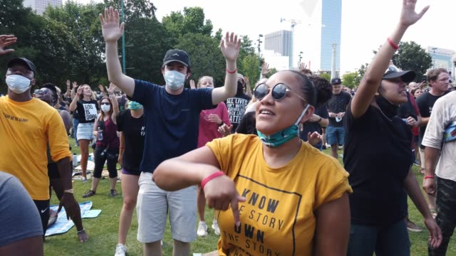 people stand, sing and move to music during a juneteenth event organized by the one race movement on june 19, 2020 in atlanta, georgia. juneteenth... - 1865 stock videos & royalty-free footage