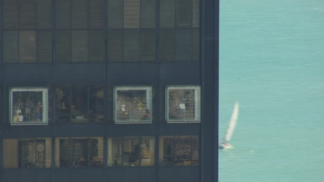WS AERIAL POV People standing at observation deck inside Willis Tower / Chicago, Cook County, Illinois, United States