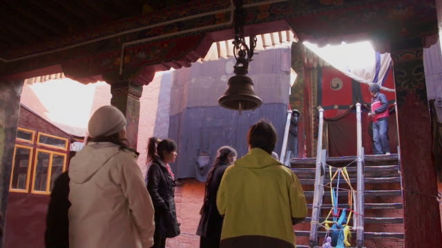 People Standing in Line to Ring the Bell, Shigatse, Tibet