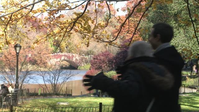 vidéos et rushes de ms people strolling in central park / new york, new york, united states - central park