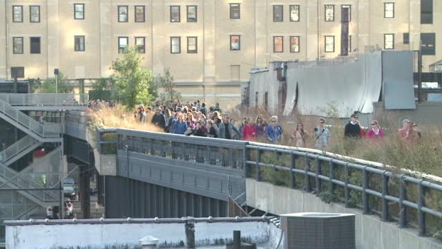 ms people strolling in highline park / new york, new york, united states - gemeinsam gehen stock-videos und b-roll-filmmaterial