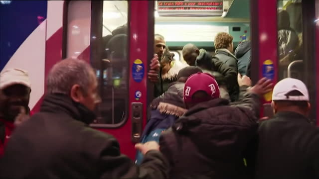 people struggle to board packed trains during rail strikes in france april 2018 - bulletin board stock videos and b-roll footage