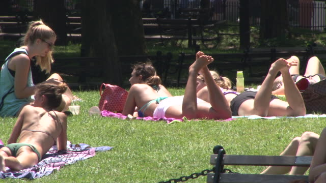 People sunbathing in Washington Square Park during a summer heat wave in NYC