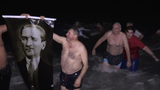 people swim in the mediterranean sea to celebrate the arrival of the new year in antalyaturkey on january 01 2018 - mediterranean turkey stock videos and b-roll footage