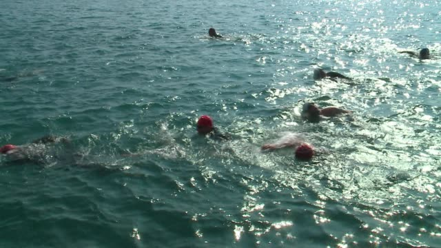 people swimming in lake michigan during the 2016 chicago triathlong on august 28, 2016. - triathlet stock-videos und b-roll-filmmaterial