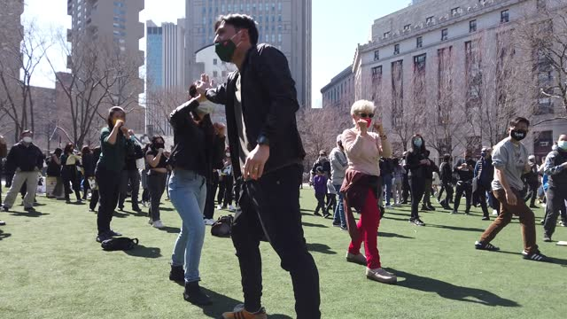 people take a self defense class at a rally against hate in columbus park on march 21, 2021 in the chinatown neighborhood of manhattan in new york,... - asian and indian ethnicities stock videos & royalty-free footage