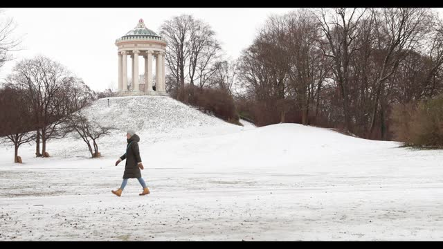 people take a walk in the englischer garten near the monopteros during a snowfall amid the coronavirus pandemic in munich on january 14th 2021. from... - ミュンヘン エングリッシャーガルテン点の映像素材/bロール